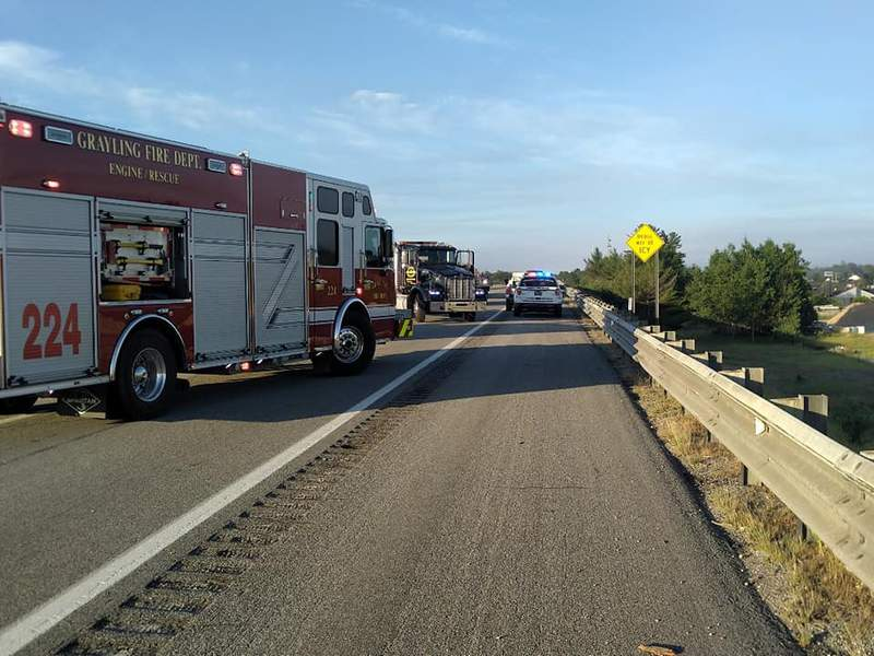 A truck carrying livestock truck overturned on I-75 in Crawford County on July 8, 2020.