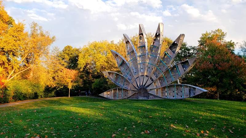 """Canoe Fan"" from Chicago sculptor Victoria Fuller in Ann Arbor's Gallup Park."