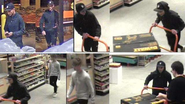 The men spotted on camera pushing out the $900 power washer from a retailer. (WDIV)