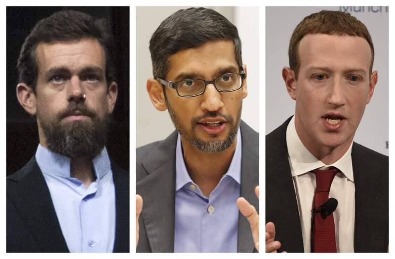 This combination of 2018-2020 photos shows, from left, Twitter CEO Jack Dorsey, Google CEO Sundar Pichai, and Facebook CEO Mark Zuckerberg. They are expected to testify in an Oct. 28, 2020 Senate hearing on tech companies control over hate speech and misinformation on their platforms. (AP Photo/Jose Luis Magana, LM Otero, Jens Meyer)