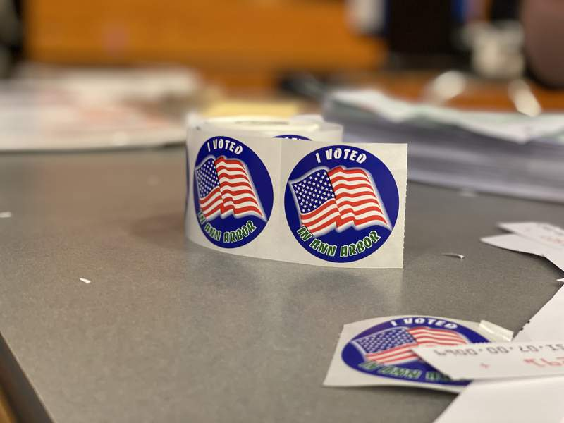 """""""I Voted in Ann Arbor"""" stickers on a table at Pioneer High School on March 10, 2020."""