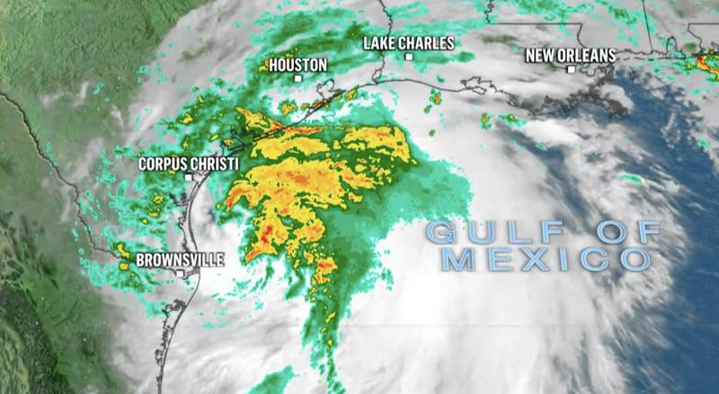Tracking Tropical Storm Nicholas as it moves toward the Gulf Coast on Sept. 13, 2021. Photo courtesy of NBC News.