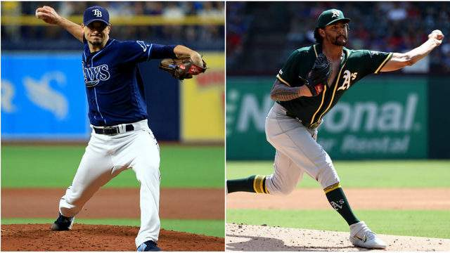 Charlie Morton is scheduled to start against Sean Manaea in the American League wild card game. (Getty Images)