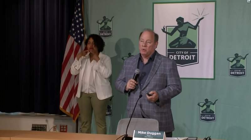 Detroit Mayor Mike Duggan at a news conference May 12, 2021