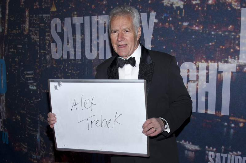 """Alex Trebek attends the """"""""SNL 40th Anniversary Special"""" at Rockfeller Plaza in New York City in 2015. (Photo by Lars Niki/Corbis via Getty Images)"""