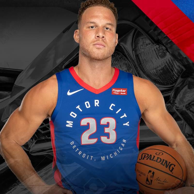 """Blake Griffin wears new Detroit Pistons """"Motor City"""" jersey."""