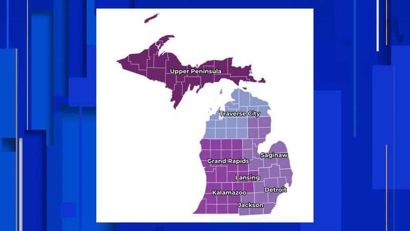The MI Safe Start map breakdown by region on Oct. 21, 2020.