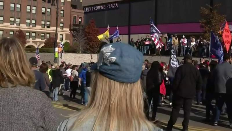 Trump supporters hold protest outside TCF Center