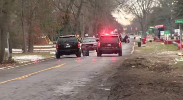 Scene of fatal pedestrian crash on Jan. 2, 2020 in Southfield, Michigan. (WDIV)