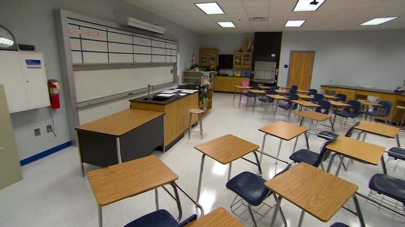 A classroom is empty during the coronavirus pandemic, which has forced teachers and students to adjust to virtual learning.