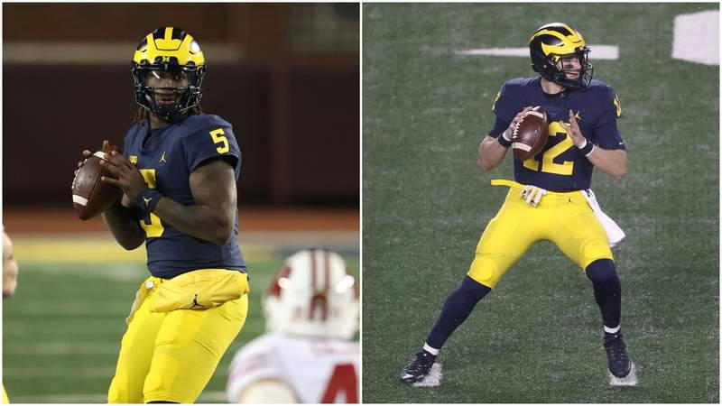 Michigan quarterbacks Joe Milton (left) and Cade McNamara (right).
