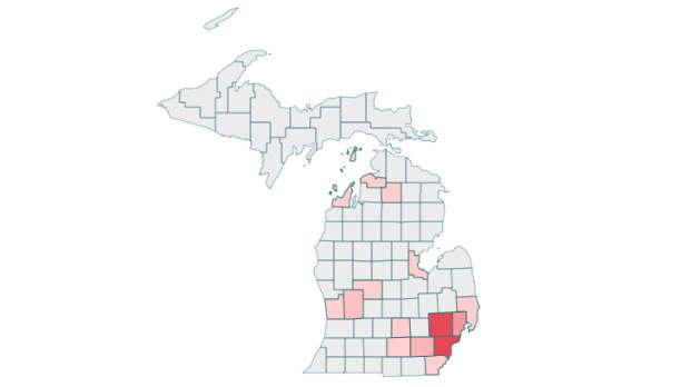 Michigan COVID-19 cases by county