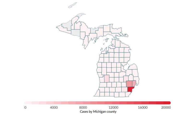 Michigan COVID-19 cases by county.