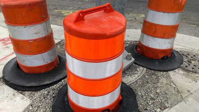 Orange construction barrels in Detroit (WDIV)