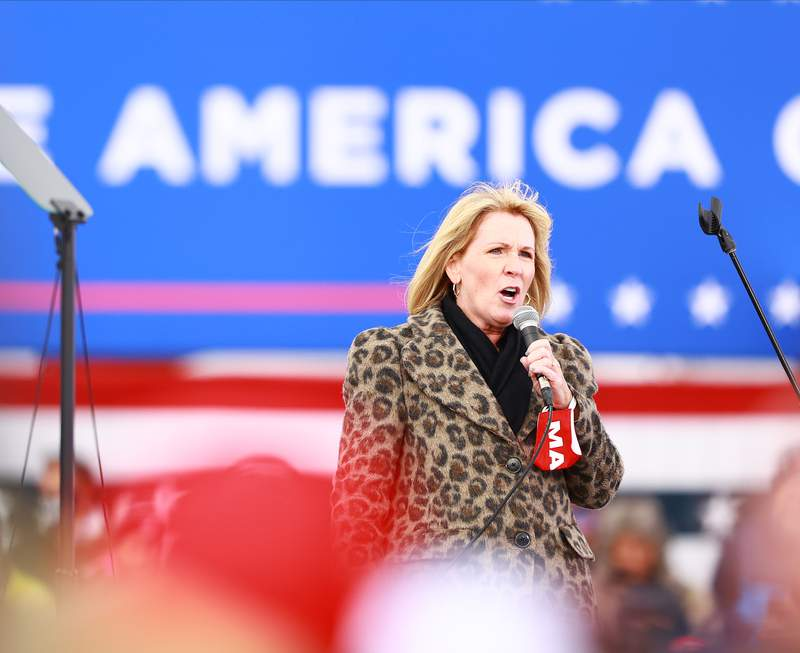 Chairman of the Michigan Republican Party Laura Cox speaks during a campaign rally on October 17, 2020 in Muskegon, Michigan.