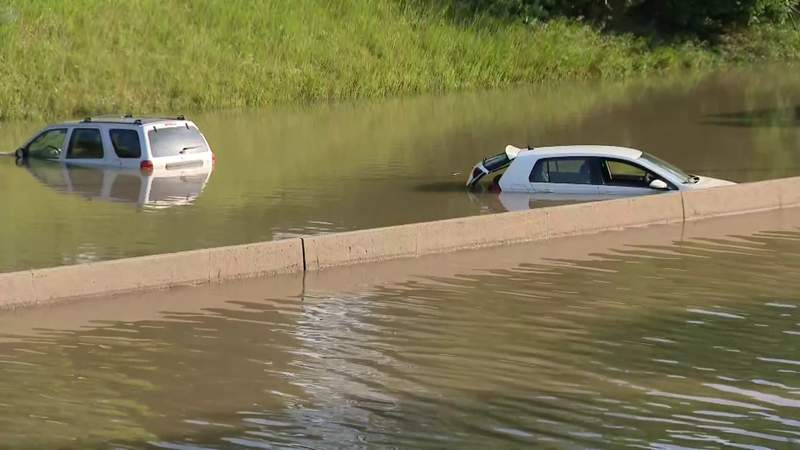 Cars stuck on a flooded I-94 in Metro Detroit.