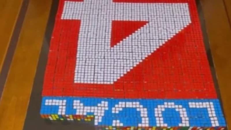 12-year-old Dearborn boy creates Local 4 logo with Rubik's Cube art