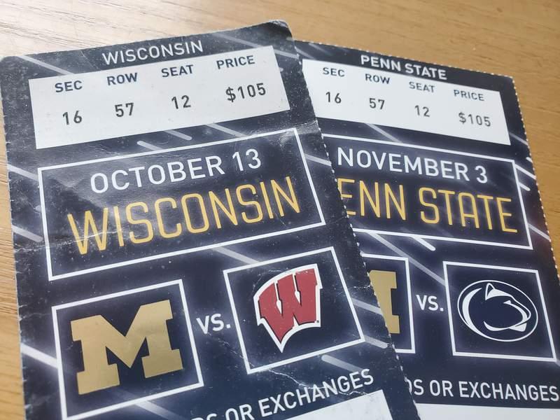 Michigan football tickets from the 2018 season.