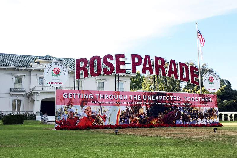 Tournament House, the headquarters of the Tournament of Roses, sponsor of the Rose Parade, is shown Wednesday, Dec. 9, 2020, in Pasadena, Calif. There won't be thousands of people watching flower-laden floats roll through the streets of Pasadena on New Year's Day, but the show will go on. Sheryl Crow leads a long list of performers and celebrity guests who will appear in a Jan. 1 television special replacing the 132nd Rose Parade, which was canceled due to the coronavirus pandemic. (AP Photo/John Antczak)