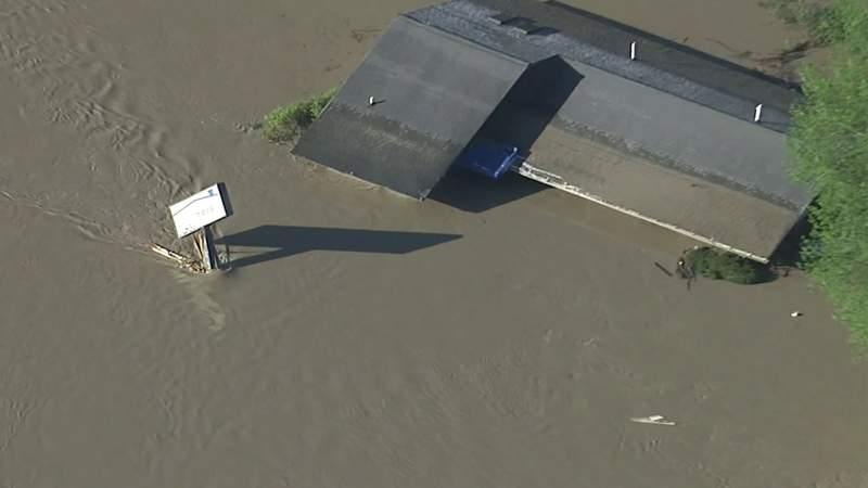 Aerial video of Midland County damage from dam failures