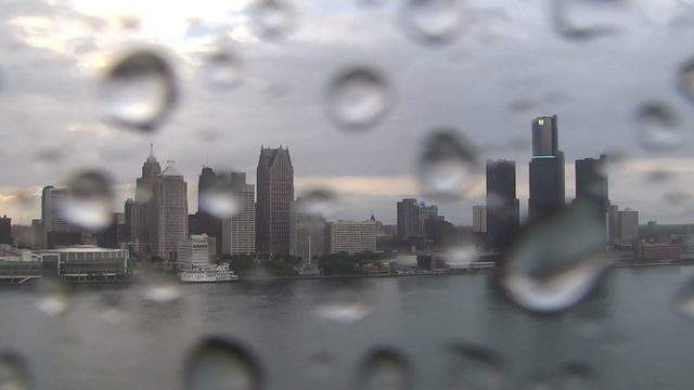 View of Detroit from the Windsor sky camera on June 5, 2019 at 8:20 p.m. (WDIV)