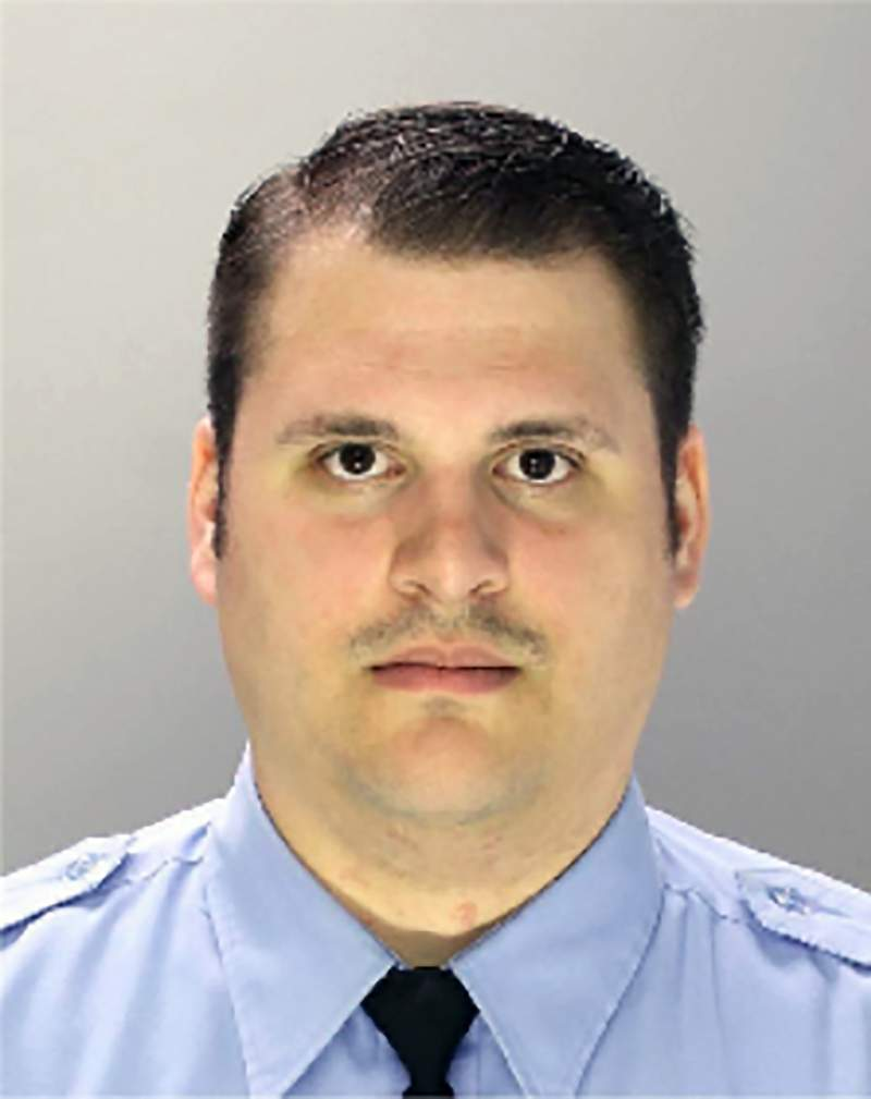 This undated photo provided by Philadelphia Police Department shows former Philadelphia police Officer Eric Ruch. Ruch was charged with first-degree murder Friday, Oct. 9, 2020 in the 2017 shooting of a Black man after a high-speed car chase.(Philadelphia Police Department via AP)