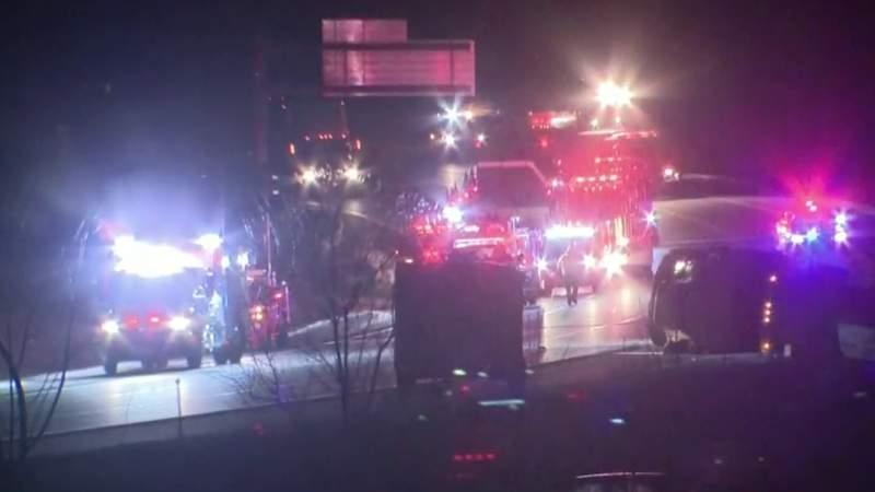 Crash along northbound I-75 in Oakland County on Jan. 29, 2021.