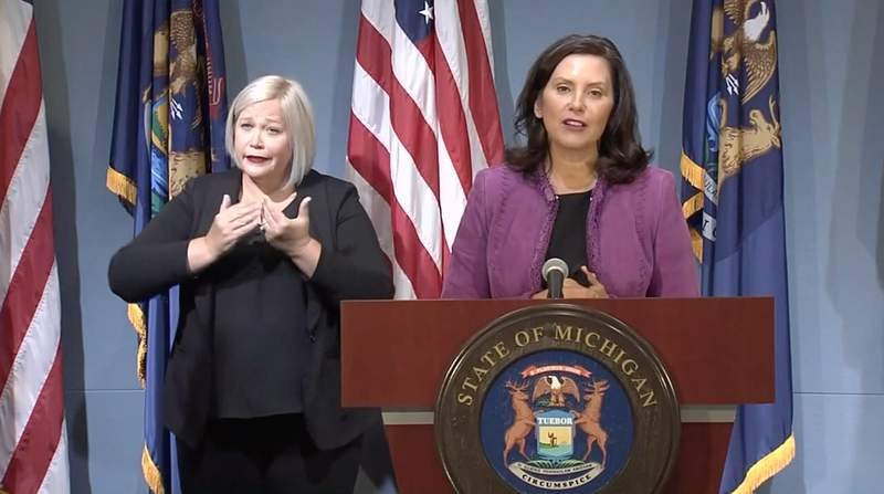 Michigan Gov. Gretchen Whitmer speaks at a news conference on Aug. 5, 2020.