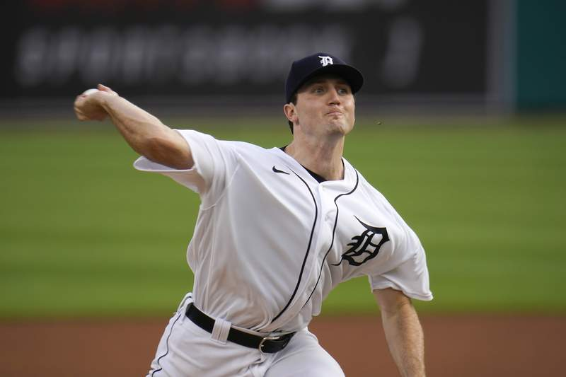 Detroit Tigers pitcher Casey Mize throws against the Chicago Cubs in the first inning of a baseball game in Detroit, Monday, Aug. 24, 2020. (AP Photo/Paul Sancya)
