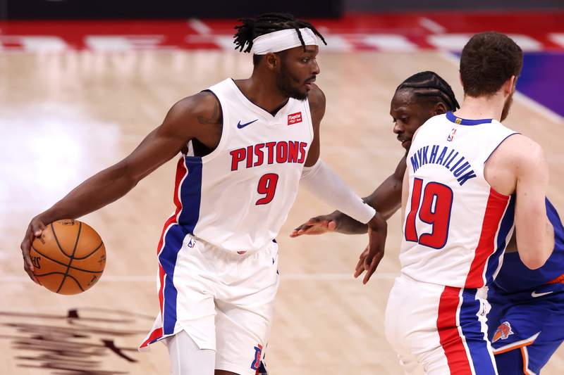 DETROIT, MICHIGAN - FEBRUARY 28: Jerami Grant #9 of the Detroit Pistons looks to drive to the basket during the second half against the New York Knicks at Little Caesars Arena on February 28, 2021 in Detroit, Michigan. NOTE TO USER: User expressly acknowledges and agrees that, by downloading and or using this photograph, User is consenting to the terms and conditions of the Getty Images License Agreement. (Photo by Gregory Shamus/Getty Images)