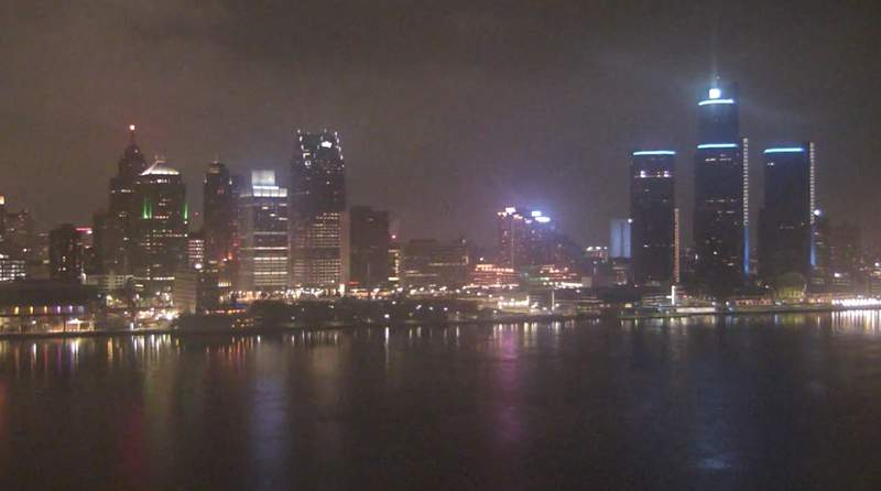 View of Detroit from the Windsor sky camera on Jan. 6, 2021 at 9 p.m.