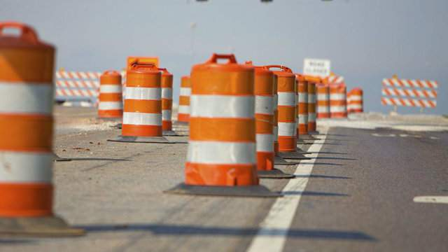 A construction zone on a highway.