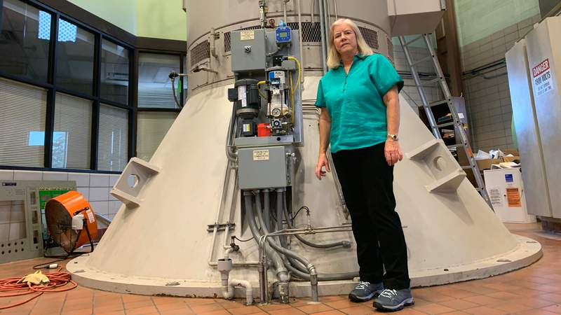 Macomb County Public Works Commissioner Candice S. Miller at one of three pumps at the Chapaton Pump Station in St. Clair Shores. Photo provided by the Macomb County Public Works Commission.
