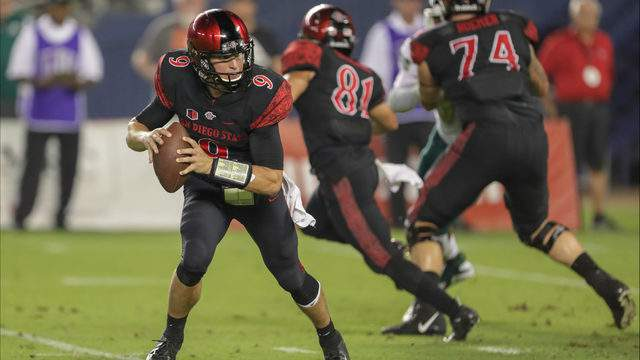 Ryan Agnew #9 of the San Diego State Aztecs looks to throw the ball in the second half against the Sacramento State Hornets at SDCCU Stadium on September 8, 2018 in San Diego, California. (Photo by Kent Horner/Getty Images)