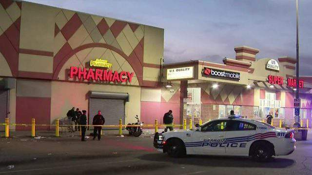 Two people were shot at a grocery store at Joy and Greenfield roads on Detroit's west side. (WDIV)