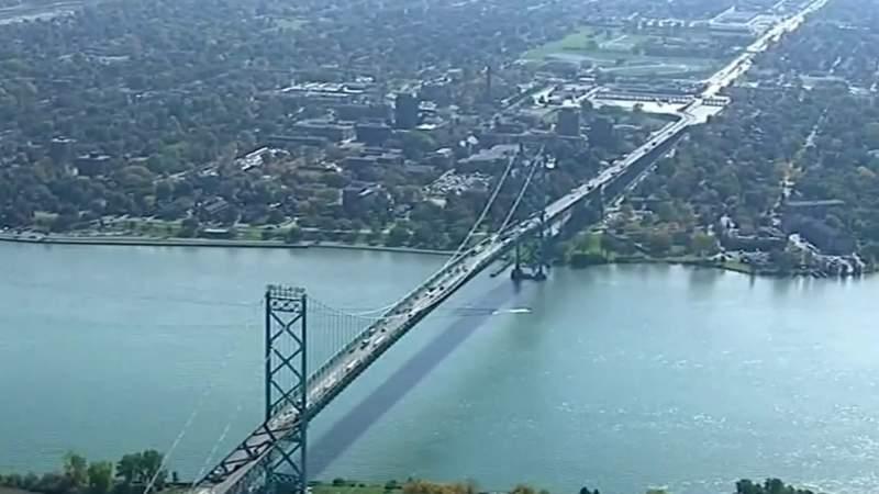 The Ambassador Bridge connects Detroit to Windsor, Ontario, Canada.