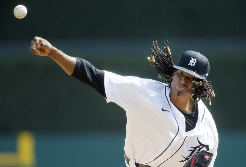 Jose Urena #62 of the Detroit Tigers pitches against the Minnesota Twins during the second inning at Comerica Park on April 5, 2021, in Detroit, Michigan.