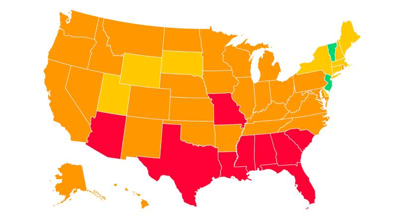 """A screenshot of Covid Act Now's map of the United States and colored according to their """"Covid Risk Level."""" Much like the rest of the country, Michigan is experiencing an uptick in COVID-19 cases and is now labeled at """"high risk"""" for virus spread, according to data from Covid Act Now. Photo courtesy of Covid Act Now's website. -- July 19, 2020"""