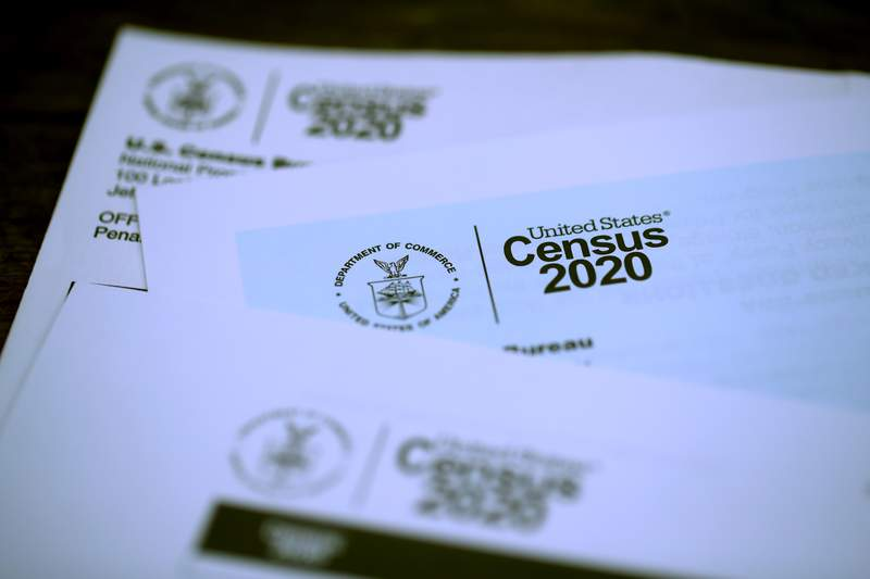 The U.S. Census logo appears on census materials received in the mail with an invitation to fill out census information online.