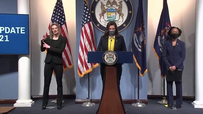 Michigan Gov. Gretchen Whitmer holds COVID-19 briefing on Feb. 4, 2021