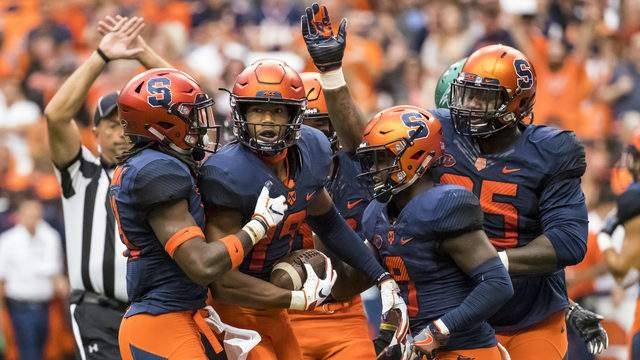 Andre Cisco #19 of the Syracuse Orange celebrates an interception during the first quarter against the Wagner Seahawks at the Carrier Dome on September 8, 2018 in Syracuse, New York. (Photo by Brett Carlsen/Getty Images)