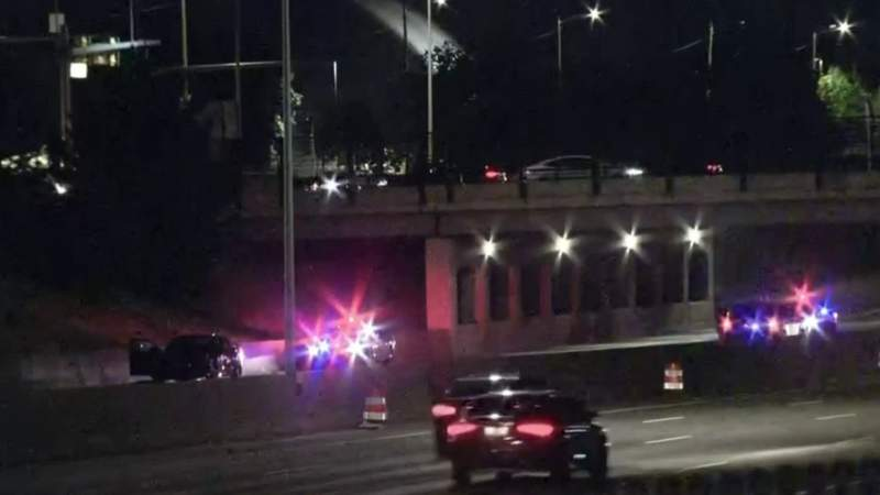 Scene of a shooting on I-75 in Detroit on May 30, 2021