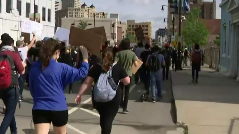 March against police brutality in Downtown Detroit