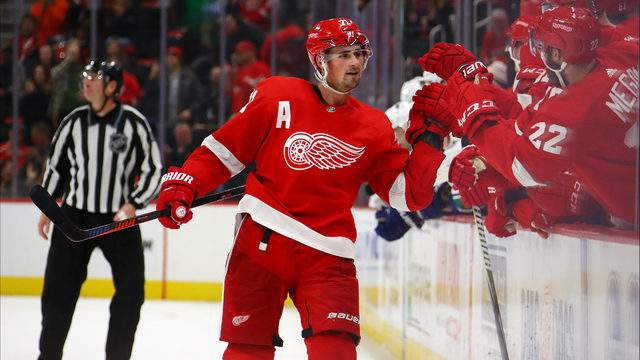 Dylan Larkin of the Detroit Red Wings celebrates his shootout goal with teammates while playing the Vancouver Canucks at Little Caesars Arena on November 06, 2018 in Detroit, Michigan. (Photo by Gregory Shamus/Getty Images)