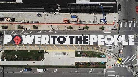 """""""Power to the People"""" street mural in Detroit."""