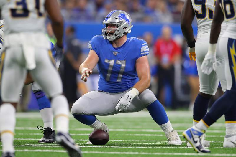 Frank Ragnow #77 of the Detroit Lions plays against the Los Angles Chargers at Ford Field on September 15, 2019 in Detroit, Michigan. Detroit won the game 13-10.