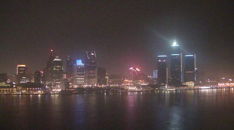 View of Detroit from the Windsor sky camera on Jan. 14, 2021 at 8:43 p.m.