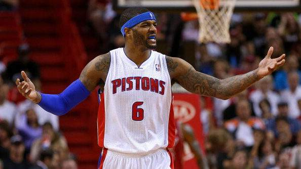 MIAMI, FL - DECEMBER 03: Josh Smith #6 of the Detroit Pistons reacts to a play during a game against the Miami Heat at American Airlines Arena on December 3, 2013 in Miami, Florida. (Photo by Mike Ehrmann/Getty Images)