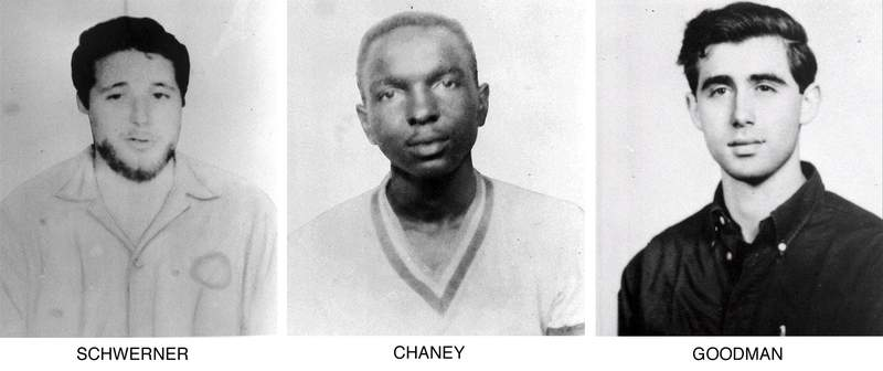 FILE - On June 29, 1964, the FBI began distributing these pictures of civil rights workers, from left, Michael Schwerner, 24, of New York, James Cheney, 21, from Mississippi, and Andrew Goodman, 20, of New York, who disappeared near Philadelphia, Miss., June 21, 1964. Never before seen case files, photographs and other records documenting the investigation into the infamous slayings of the three civil rights workers in Mississippi are now open to the public announced on Monday, June 21, 2021, for the first time, 57 years after their deaths. The 1964 killings of civil rights activists Chaney, Goodman, and Schwerner in Neshoba County sparked national outrage and helped spur passage of the 1964 Civil Rights Act. (AP Photo/FBI, File)