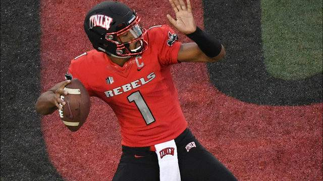 Quarterback Armani Rogers #1 of the UNLV Rebels looks to throw against the UTEP Miners during their game at Sam Boyd Stadium on September 8, 2018 in Las Vegas, Nevada. The Rebels defeated the Miners 52-24. (Photo by Ethan Miller/Getty Images)